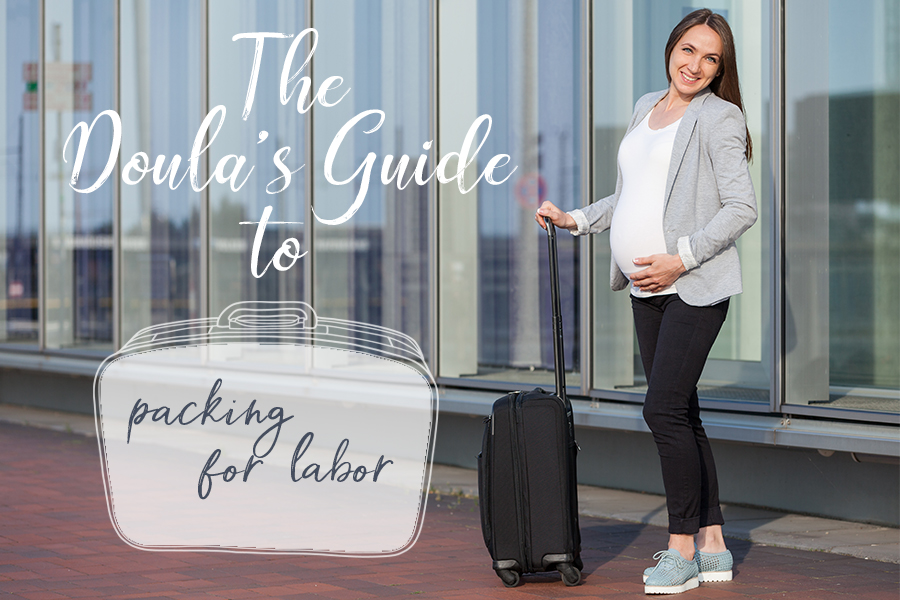 Pregnant person with suitcase