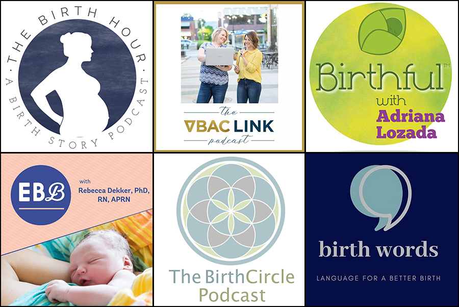 Collage of podcasts about birth