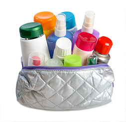 Assorted toiletries packed in a travel bag