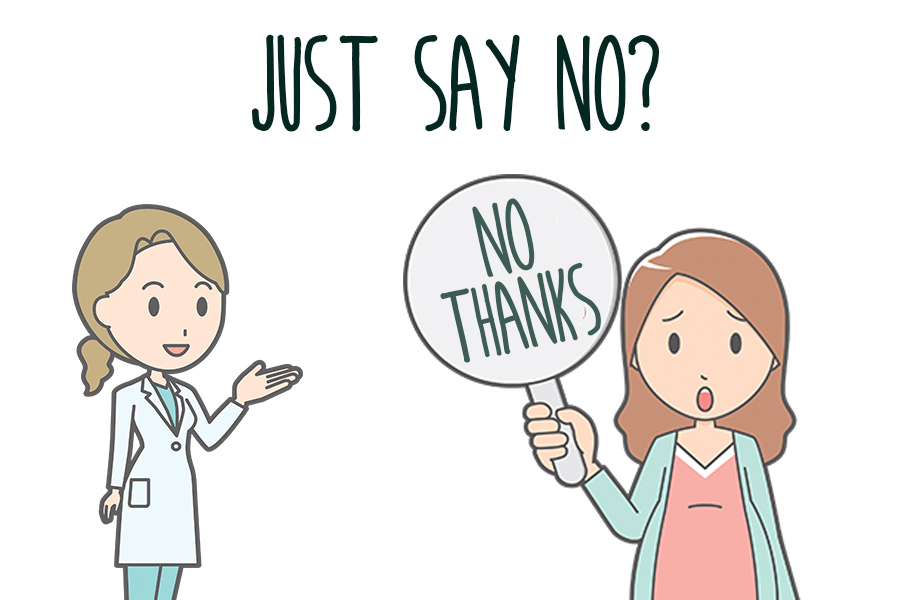 Cartoon woman holding sign that says No Thanks, with cartoon doctor in the background