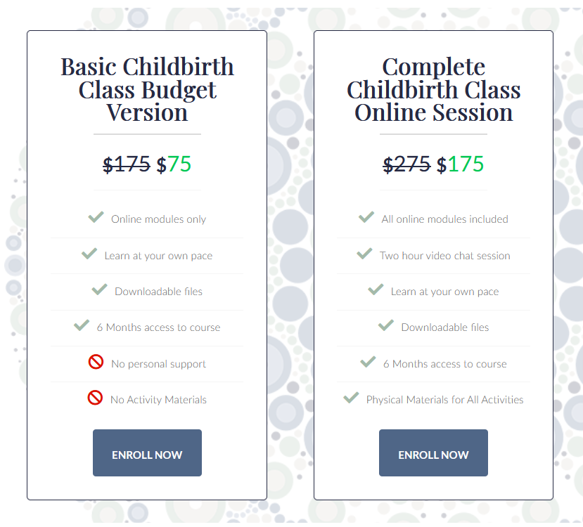 Screenshot of the class options, click the link to the accessible list of features.